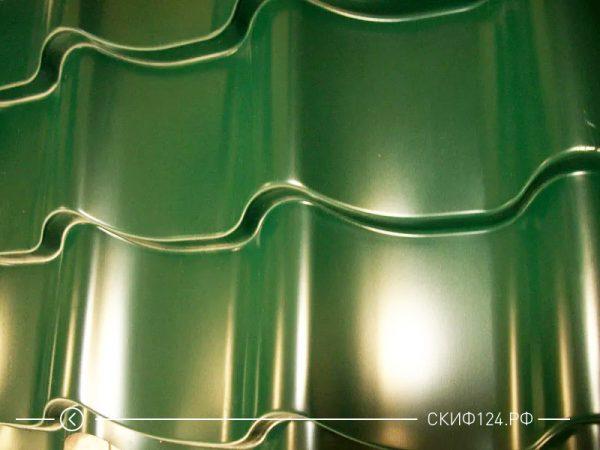 Металлочерепица NormanMP зеленого цвета и покрытием полиэстер