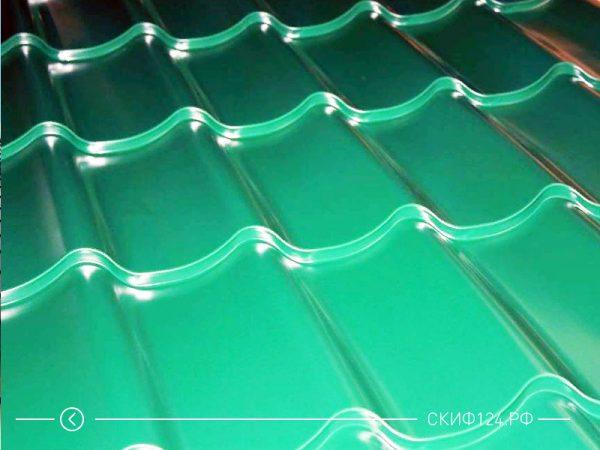 Металлочерепица Супермонтеррей с покрытием полиэстер зеленого цвета