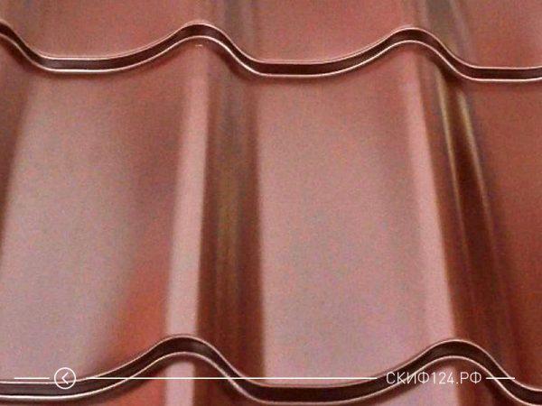 Металлочерепица супермонтеррей коричневого цвета с покрытием Prisma