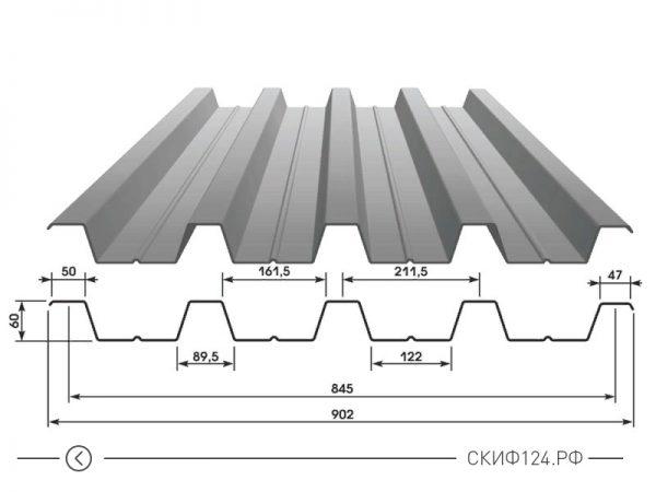 Размеры оцинкованного профилированного листа Н60