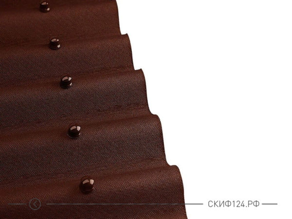 Вид коричневого ондулина с креплением