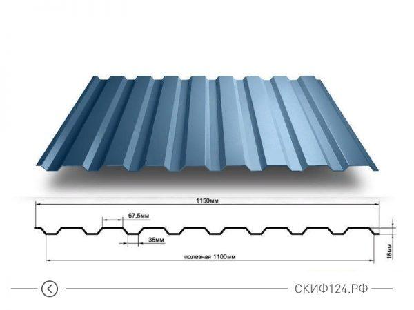 Размеры и характеристики профилированного листа МП-20