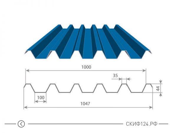 Размеры и характеристики профилированного листа С-44