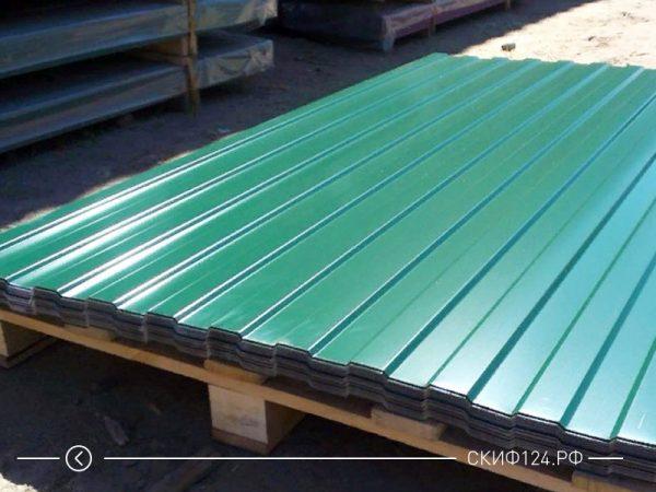 Профилированный лист С-8 Окрашенный зеленым цветом