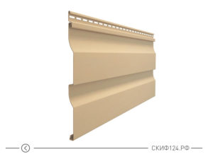 Горизонтальный виниловый сайдинг для отделки фасада дома Корабельный брус цвет карамель