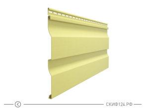 Горизонтальный виниловый сайдинг для отделки фасада дома Корабельный брус цвет лимон