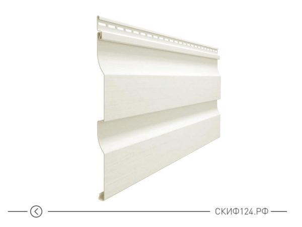 Горизонтальный виниловый сайдинг для отделки фасада дома Корабельный брус цвет белый пломбир