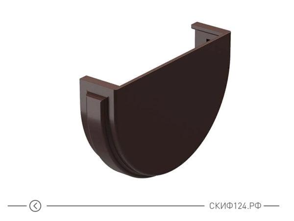 Заглушка для желоба трубы водосточной системы производителя Docke, цвет шоколад