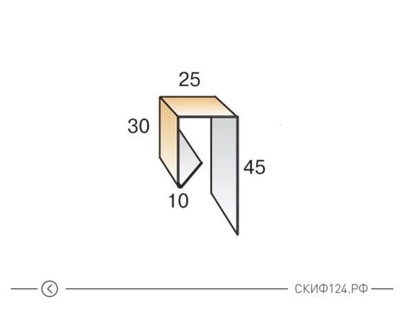 Планка завершающая сложная из оцинкованной стали для металлического сайдинга