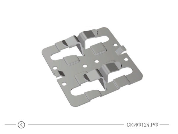 крепежный клямер рядовой с дистанциром для вентилируемого фасада