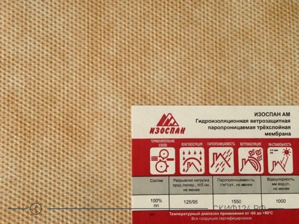 Защитная мембрана Изоспан АМ для защиты утеплителя от влаги