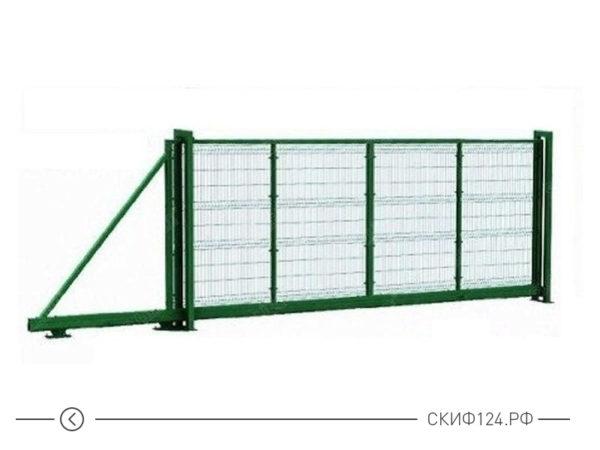 Откатные ворота Премиум плюс для металлического забора зеленые из сетки