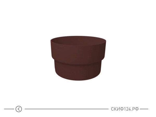 Муфта трубы соединительная из ПВХ для пластикового водостока Гранд Лайн, цвет шоколадный