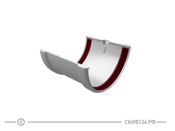Соединитель желобов ПВХ для водостока Grand Line, цвет белый