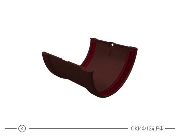 Соединитель желобов ПВХ для водостока Grand Line, цвет шоколадный