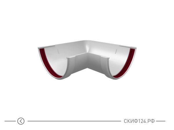 Угол желоба универсальный 90 градусов для водостока Гранд Лайн, цвет белый