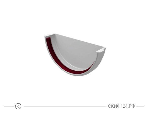 Заглушка желоба универсальная из ПВХ для водостока Гранд Лайн, цвет белый