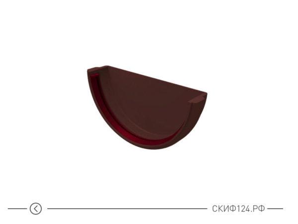 Заглушка желоба универсальная из ПВХ для водостока Гранд Лайн, цвет шоколадный